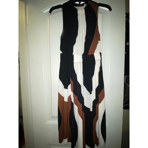 brown, black, & white dress